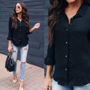 Button down black shirt work career casual tops